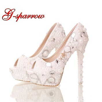 Summer Peep Toe White Pearl Shoes Wedding Bridal 14cm High Heels Platform Crystal Bride Shoes Handmade Party Prom Pumps