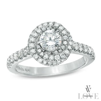 Vera Wang LOVE Collection 1 CT. T.W. Diamond Swirl Frame Engagement Ring in 14K White Gold