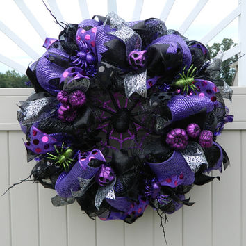 Deco Mesh Halloween Wreath, Spider Pumpkin wreath, Black Purple Halloween Wreath, Halloween Decor, Spooky Creepy Spider