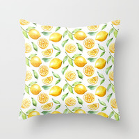 Lemon Zest Throw Pillow by DazzetteMarie