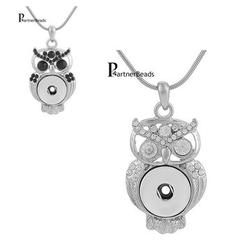 Partnerbeads Interchangeable DIY Jewelry 18mm Ginger Snaps Jewelry Metal Owl Snap Button Pendants Necklace KB3376