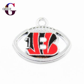 Cincinnati Bengals Charms Football Sport Team Floating Charms Hanging Dangle Charms For Women Necklace Bracelet DIY Jewelry