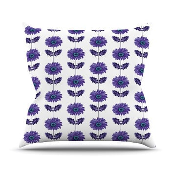 "Laura Escalante ""Purple Gerbera"" Lavender Flower Outdoor Throw Pillow"