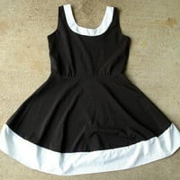 Retro S M Mod Black White Rockabilly Pinup Colorblock Summer Sun Dress