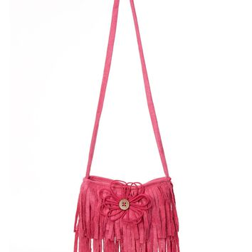 Cach Cach Must Have Pink Suede Purse with Fringe