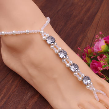 Gift New Arrival Cute Ladies Sexy Jewelry Stylish Shiny Pearls Handcrafts Stretch Anklet [7241006151]