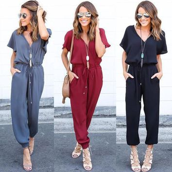 Women Overall Playsuit Short Sleeve Summer Loose Jumpsuit Romper Casual Trousers