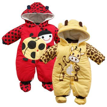Cartoon Winter Overalls For Boy Girls Rompers Kids Long Sleeve Baby Ladybug Cows Warm Jumpsuit Autumn And Winter Toddler Clothes