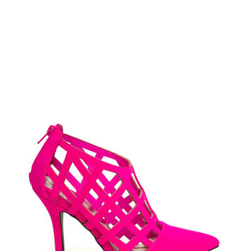 Grid Luck Cut-Out Faux Nubuck Heels