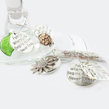 Tree of Life Wine Glass Charm Set