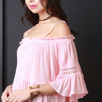 Crinkle Cold Shoulder Lace Inset Ruffle Blouse Top