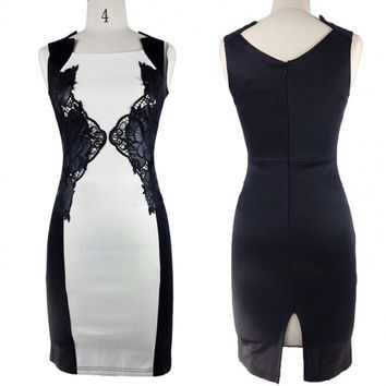 Embellished Lace Contrast Bodycon Party Cocktail Evening Mini Dress