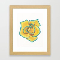 Yellow and Turquoise Rose Framed Art Print by drawingsbylam