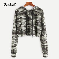 ROMWE Olive Green Camo Print Crop Hoodie Full Sleeve Sweatshirts Ladies Hoodies for Women Autumn Casual Pullovers
