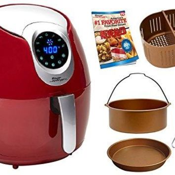 Power Air Fryer XL 3.4 QT Red Deluxe - Turbo Cyclonic Airfryer Include Air-Fryer Accessories Kit With Baking Insert, Pizza Pan, Cooking Tongs AndRecipes Book