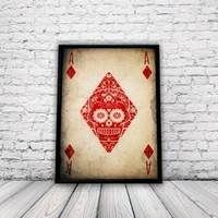 Day of the Dead Poster, Sugar Skull Poster, Size:16.5 inch x 11.7 inch, Ace of Diamonds, Día De Los Muertos, Mariachi, Unframed