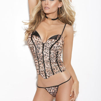 Animal Print Satin Corset