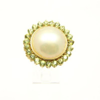 GENIUNE MABE PEARL & PERIDOT RING SET IN SOLID 14K YELLOW GOLD
