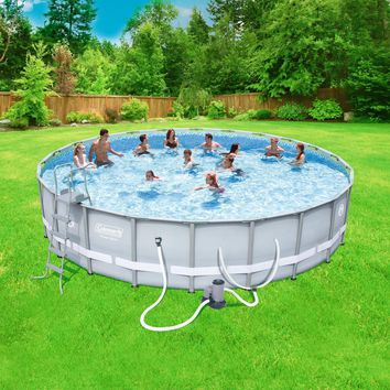 """22' x 52"""" Outdoor Above Ground Round Swimming Pool Set with Filter,Ladder & Cover"""