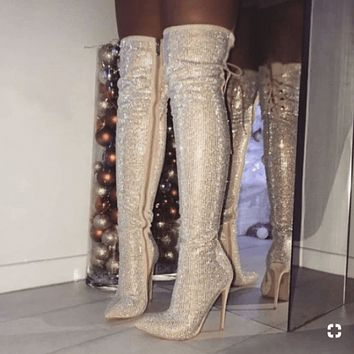 Lace Up High Heel Glitter Over Knee Boots