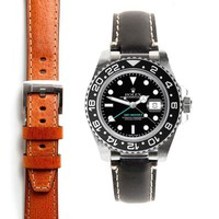 Everest Steel End Link Leather Strap for the Rolex GMT Master II Ceramic with Tang Buckle