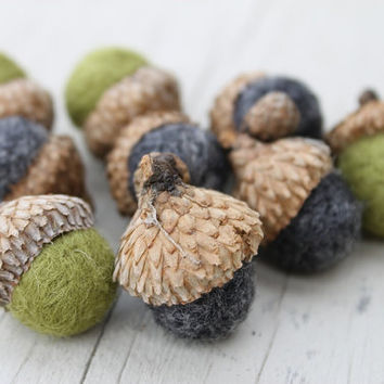 Wool Felted Acorns in Winter Tweedy Gray & Moss Green Home Decor Neutral Eco Friendly