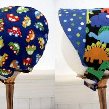 Reversible baby bonnet baby boy sun hat baby shower gift new baby gift infant sun bonnet cars and dinosaurs sizes newborn to 12 months