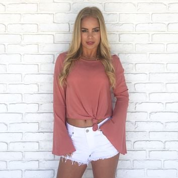 Spell Bound Bell Sleeve Top in Coral