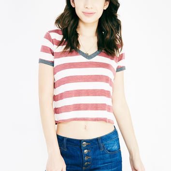Striped Boxy Ringer Crop Tee | Wet Seal