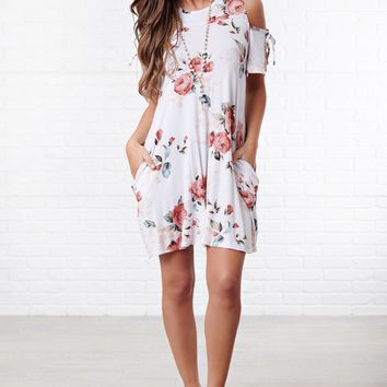 The Comeback Cold Shoulder Dress (White/Floral)