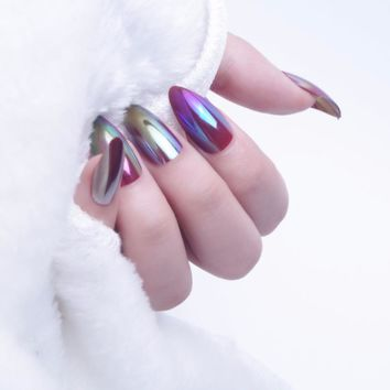 24pc Fasion Mirror Oval Stiletto Fake Nails Tips Full Cover False Nails Solid Colors with Glue Stickers Press on Nails Acrylic