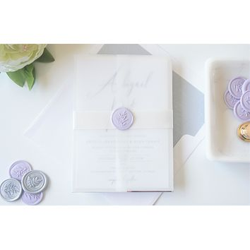 Lavender Vellum and Wax Seal Wedding Invitation - DEPOSIT