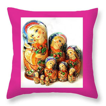 Art Throw Pillow with an image of traditional Russian nesting dol decorative throw art pillow home decor accent pillow sofa cough art pillow