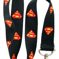 Superman Black Lanyard Keychain Holder