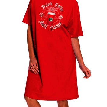 Red Cup Drink Coffee Hail Satan Dark Adult Night Shirt Dress by