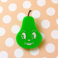 Prudence Pear Brooch - laser cut acrylic - Kitsch Vintage 50s Anthropomorphic Novelty Statement Pin Fruit Green Cute Fun Food Happy Face