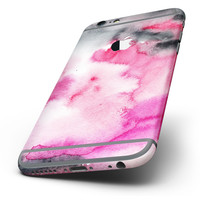 The Pink and Black Absorbed Watercolor Texture Six-Piece Skin Kit for the iPhone 6/6s or 6/6s Plus