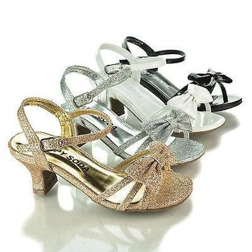 GirlyII By Happy Soda, Children Girls Open Toe Bow Sling back Small Block Heel Sandals