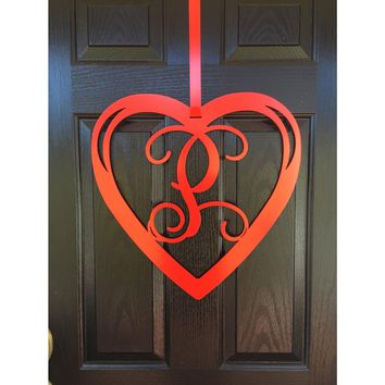 Heart Monogram Door Wreath- Valentines door wreath