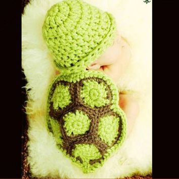 Turtle Design Newborn Baby Photography Props Crochet Knitting Baby Turtle Suit Cute Baby Turtle Outfits For Photo Shooting