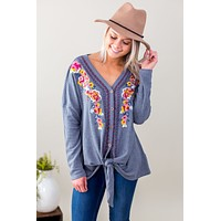 Floral Embroidered Twist Top - Multiple Options