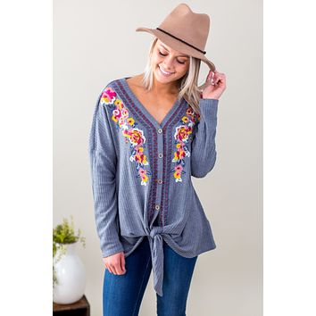 ST-Floral Embroidered Twist Top - Multiple Options