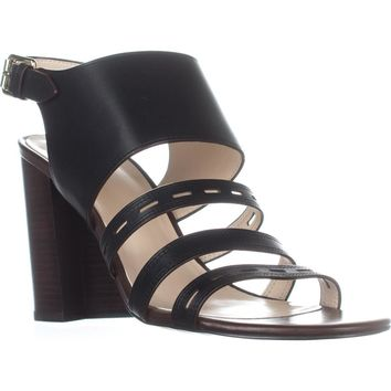 Cole Haan Lavelle High Heel Sandals, Black Leather, 8 US