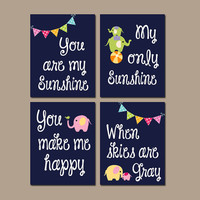 CIRCUS Elephant You Are My Sunshine Wall Art Girl Artwork Nursery Rhyme Quote Flower Baby Song Set of 4 Prints Baby Crib Decor