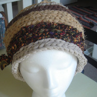 Brown, Beige, & Mustard Rag Crochet Hat or Basket, Shabby Chic Boho style