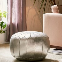 Traditional Leather Floor Pouf | Urban Outfitters
