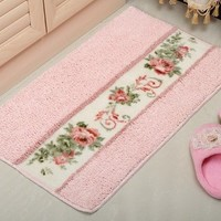 "Diaidi Super Fine Fiber Pastoral Rose Area Rug and Carpet Bath Mat Doormat Bathroom Mat Cute Arear Rug 17.71""*29.52"" (Pink)"