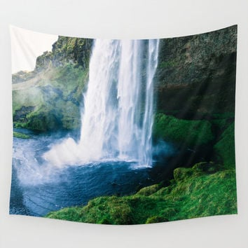 Wall Tapestry, Waterfall Wall Hanging, Coastal Tropical Beach Wall Art, Large Photo Wall Art, Modern Tapestry, Home Decor