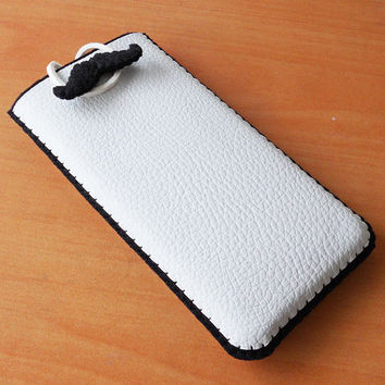 leather felt iphone sleeve, pouch, cover, case - available custom made in any other size of phone