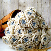 Burlap Rose / Fabric Rose with blue centers / Custom Bouquet / Rustic Bouquet / Bridal Bouquet / Beach Wedding / Barn Wedding